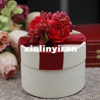 round cardboard gift box - GAGA hand made Flame red round cardboard gift box deliver with finished goods HR03