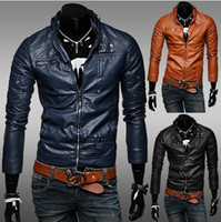 Wholesale 2013 new fashion men s Jackets leather Jackets Slim Simple Stand Color Washed leather motorcycle Jackets mens clothes Outwear Navy