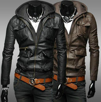 Men black leather motorcycle jacket - 2013 new fashion men s Jackets leather Jackets Slim Detachable cap Hooded Washed leather motorcycle Jackets mens clothes Outwear Black