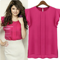 Wholesale New Lady chiffon Sleeveless blouses solid Rose Green Blue color loose lady women blouses Size S M L XL