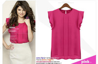 Wholesale New Lady chiffon Sleeveless blouses solid Rose Green Blue color loose lady women blouses Size S M L XL pc