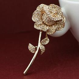 Elegant Clear Rhinestone Crystal Rose Flower Shiny Crystal Rhinestones Brooch Pin Corsage