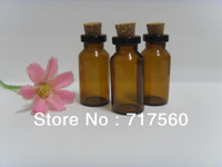 Glass Yes Essential Oil Wholesale 100pcs lot 3ml amber small glass bottles with corks, mini sample glass vials with cork stopper,Empty Craft Pieces