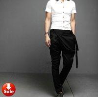 Wholesale NEW Men Women Unisex Fashion Korean Style Punk Casual Low Drop Crotch Harem Baggy Tapered Skinny Pants Slacks Trousers
