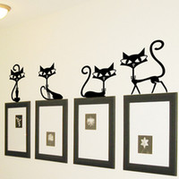 Wholesale Wall Stickers Removable Cute Lovely Cat Party Home Mural Decals Decor Art