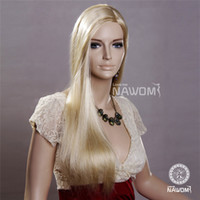Wholesale Long Hair Wig Blonde Silky Straight Neat Bangs NAWOMI Kanekalon Material Natural Hairline Glueless Wigs Cheap Synthetic Wigs New Item A3401