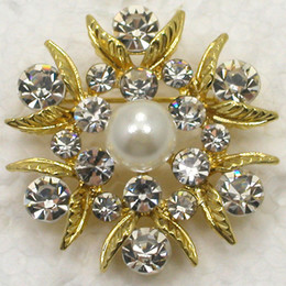 Wholesale Crystal Rhinestone Faux Pearl Brooches Bridesmaid Wedding Party Prom Flower Pin Brooch C775