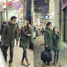 Wholesale Couple Fashion Men Women Military Long Winter Coat Hooded Parka Overcoat Size