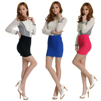 Wholesale Sexy Candy Colour Panel Pencil Bodycon Plain Bandage Rib OL Stretch Mini Skirt