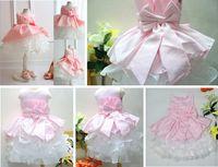 Wholesale 1pcs Flower Baby Girls dresses PINK children wedding dress White big bowknot princess cake tutu dress Sky blue kids birthday party dress