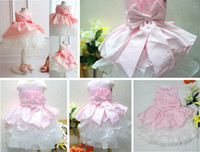 Bow Satin Knee-Length Free Shipping 1pcs* Flower Baby Girls' Dresses,PINK Children Wedding Dress,Big Bowknot Princess Cake tutu Dress,Kids Birthday Party Dress