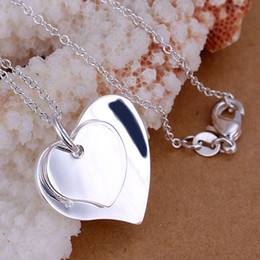 Mix Style Fashion 925 Silver Pendants Charms Necklaces Jewelry Woman Charms Necklaces Double Heart Pendant Necklace Girls Ladies Gift