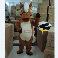 High Quality Brown Horse Mascot Cartoon Costume Christmas Ha...