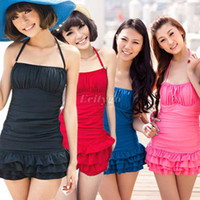 Women Tankini Pure Colour New women Halter One Piece Swimsuit Bowknot Back Bathing Suit Swimwear Skirt Tankini