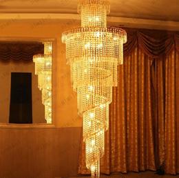 Promotion pendeloques de cristal Nimi32 Lumières modernes d'escalier K9 Lustre de boule de cristal Lumière Longue lampe pendante Éclairage Duplex Escalier Villa Salon Hôtel Magasin