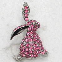 Men's apparel fashion jewelry - C184 J Rose Crystal Rhinestone Easter Bunny Pin Brooch Fashion apparel jewelry gift