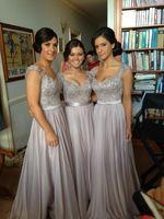 Wholesale Custom made New Big Discount Cap Sleeve Long Chiffon Bridesmaid Dresses Formal Dresses With Ribbon sop04
