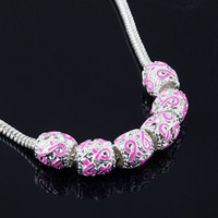 Wholesale 9 mm SILVER PLATED WITH PINK RIBBON BEADS BREAST European CANCER AWARENESS CHARMS FIT BRACELETS