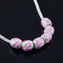 9*9mm 100pcs SILVER PLATED WITH PINK RIBBON BEADS BREAST European CANCER AWARENESS CHARMS FIT BRACELETS