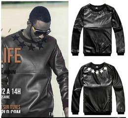 Wholesale fashion autumn winter leather west coast fashion male hip hop zipper pullover sweatshirt outerwear