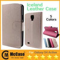 Plastic galaxy s4 active - PU Leather Stand Case For S4 Active Luxury Iceland Waterproof PU PC Flip Cover Case For GALAXY S4 Active
