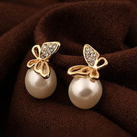 Wholesale Butterfly Earrings golden diamond stud earring charm jewelry wedding ornament