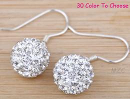 Wholesale white MPQ MM Silver Plate Cheap best Clay Disco Ball Bead Hip Hop Rhinestone shamballa crystal Drop Earrings