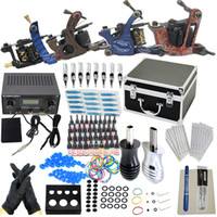 Wholesale Pro USA Dispatch New Complete Tattoo Kit Machine Guns Ink Power Needles Tips Grips Kits Set Supply KI201B