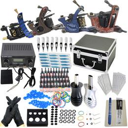 Wholesale Pro USA Dispatch New Complete Tattoo Kit Machine Guns Ink Power Needles Tips Grips Kits Set Supply KI201B