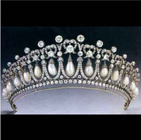 Wholesale Big Pearls Headbands Tiaras Wedding Bridal Crown Rhinestone With Pearl Hair Jewlery