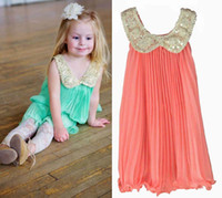 Wholesale Child Suspender Dress Children Clothing Girls Cute Chiffon Dresses Pleated Dress Fashion Sequins Collar Princess Dresses Kids Summer Dress