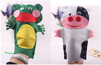 Wholesale DIY Animal Sticker Cloth Hand Puppet Baby Finger Toy Doll Creative Marionette Non woven Hand sewn L205