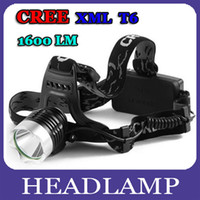 Wholesale Good Lumen CREE XML T6 LED Head Torch Headlamp Headlight LED Head Light Flashlight X Batteries Charger By DHL