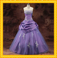 Wholesale Elegant Purple Strapless Ball Gowns Sweet Applique Lace Sequin Taffeta Organza Ruffles HOT Quinceanera Dresses Wedding bridal Dress Gown