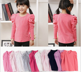 Wholesale Children base shirt autumn clothing Korean all cotton round collar puff sleeve Girls t shirts Baby clothing year QS459