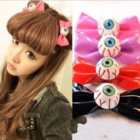Wholesale Japanese fashion women cute candy colors bowknot eyeball Hair Clips blood streak eye balls hairpins