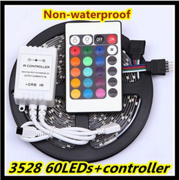 Hot Sale RGB White warm white Bule Yellow Red Green 3528 300leds non waterproof LED strip light 5m roll+24 Keys IR Remote
