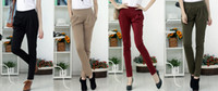 Wholesale New Fashion Harem Pants for Women s Ladies Skinny Capris Long Pants OL Pencil Trousers Khaki Black WineRed Green S XXXL