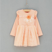 Spring / Autumn Long Sleeve Cotton Blends 2013 Autumn Korea Style 2-5 Baby Girl's Pure Color Round Collar Long Sleeve Drerss With Small Flower on the Chest & Lace Ham