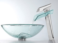 bathroom with vessel sinks - Victory Transparent Tempered glass Vessel Sink With Faucet vt S032