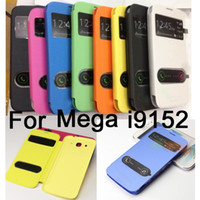Wholesale Brushed Front view Flip Cover leather case open window sleep wake magnetic Cases for samsung galaxy Mega i9152 i9150 i9158