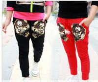 Wholesale Girl s Casual Trousers Children Cartoon Tiger Head Printed Casual Pants ps S810