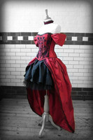 Wholesale Sexy Sweet Heart Red Black Cap Sleeves High Low Gothic Wedding Dress