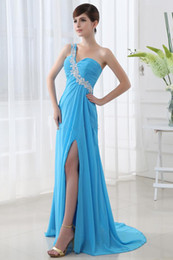 Wholesale 2013 New fashion sexy One Shoulder Chiffon beaded Prom evening Dress Bridesmaid Dresses