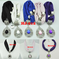 Blue scarf necklace - jewelry for scarves pendant scarf necklace scarves colour Mixed Summer scarf Water droplets shape alloy pendant HJ