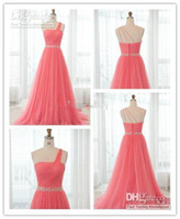 Hot Sales Braidmaid Dresses Sheath One Shoulder Pleated Tull...
