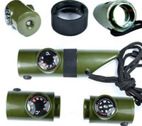 Wholesale outdoor in whistle compass LED light magnifying glass reflective mirror thermometer Survival kits