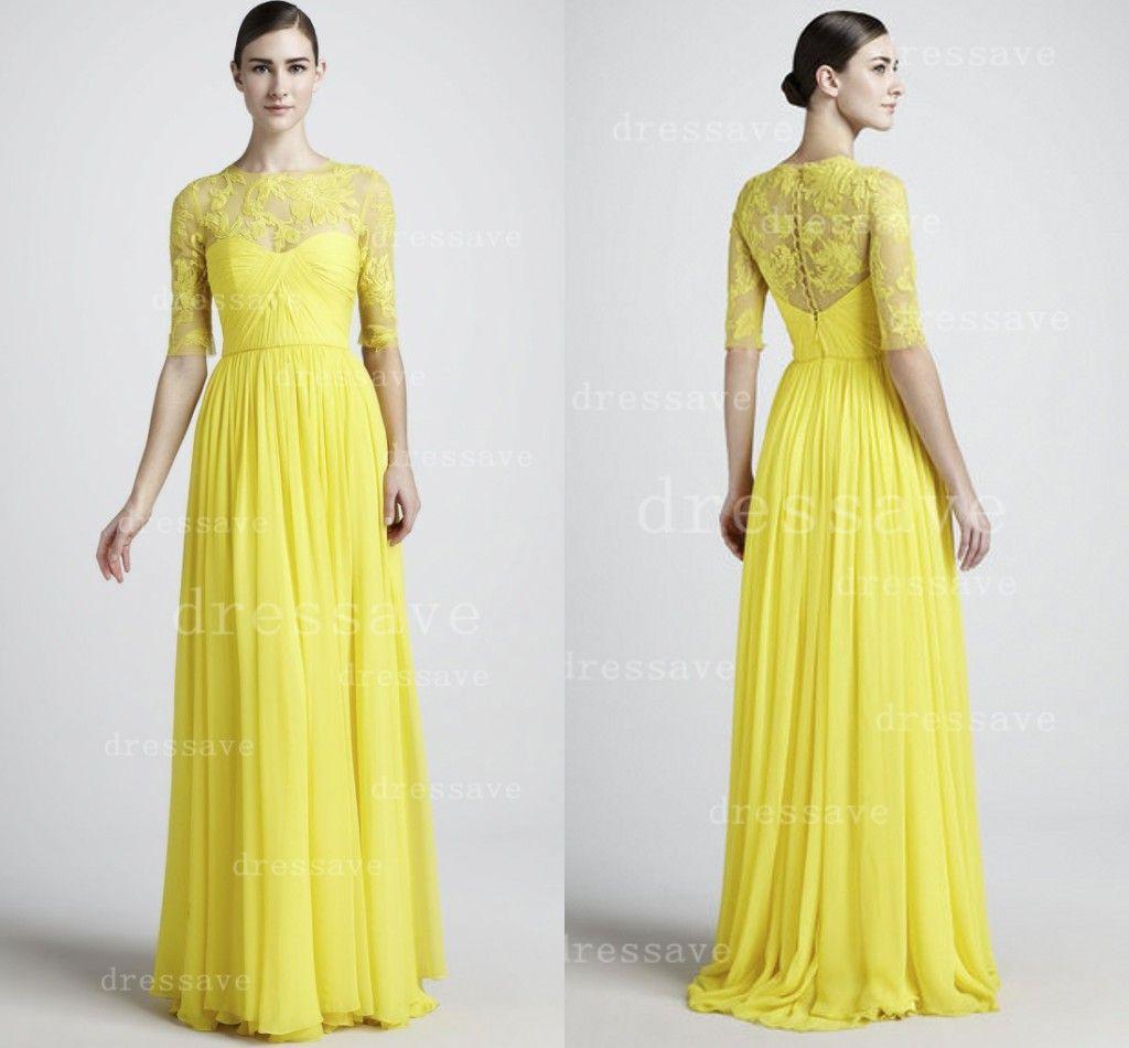 2014 designer summer spring yellow prom dresses chiffon