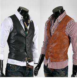 Wholesale NEW High quality British Mens slim Casual leather Vest mes vest