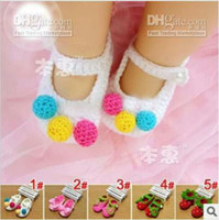 Wholesale new baby lovely hand made shoes infant knitting wool shoes toddler popular frist shoes color jlbgmy